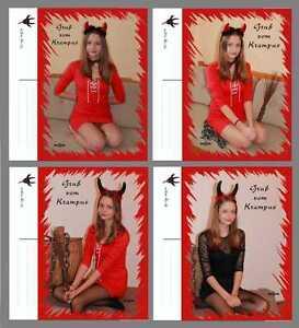 Postkarten 4 Fotokarten Gruss vom Krampus Krampusmädchen - <span itemprop=availableAtOrFrom>Altenmarkt-Thenneberg, Österreich</span> - Postkarten 4 Fotokarten Gruss vom Krampus Krampusmädchen - Altenmarkt-Thenneberg, Österreich
