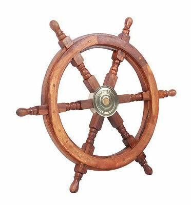 Nautical Hanging Decorations (Teak Ship's Steering Wheel 24