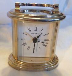 Gold/Silver Tone Seiko Desk Clock Model QHE109GLH