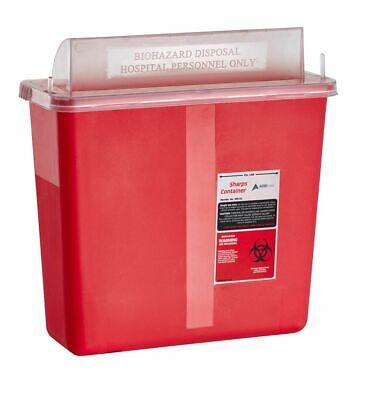 Adirmed Sharps Container Biohazard Needle Disposal Mailbox Style Lid 5 Quart