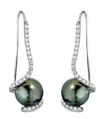 (9mm Grey Pearl 925 Solid SS Bridal Wedding Earrings Dangles Elegant CZ)