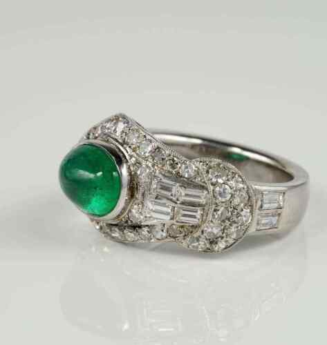 Exclusive Snake Buckle Design With Glittering White CZ & Colombian Emerald Ring