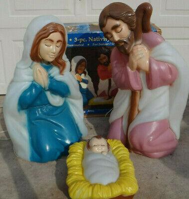 """General Foam Plastics 3 Piece Nativity Set Blow Mold 28"""" Tall"""