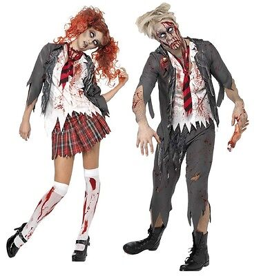 Couples Ladies Mens Zombie School Uniform Halloween Fancy Dress Costumes Outfits](Halloween Outfits Couples)