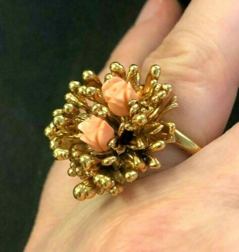 Vintage Costume Faux Carved Flower Coral Organic Look Ring Gold Plated SZ. 5.25