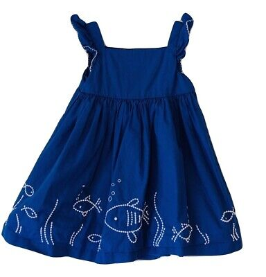 Gymboree Baby 12-18 month Dress Sleeve Embroidered Fish Dress Royal Blue White