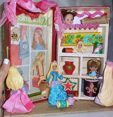 Sew Barbie Thread Spool Collage Art Shadowbox Mixed Media OOAK