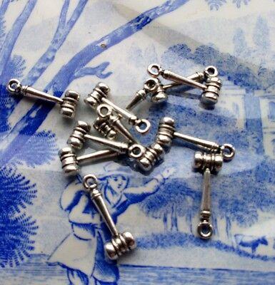 11 x Silver tone metal gavel hammer pendant charm 7mm x 18mm