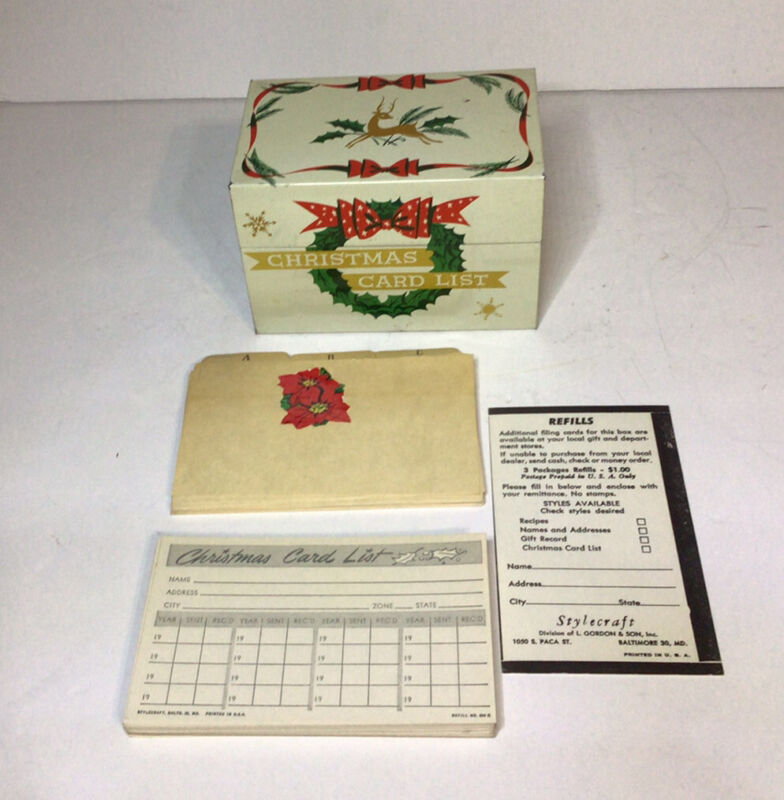 Stylecraft Christmas Card List Tin Box With Tab Cards And Filing Cards Vtg