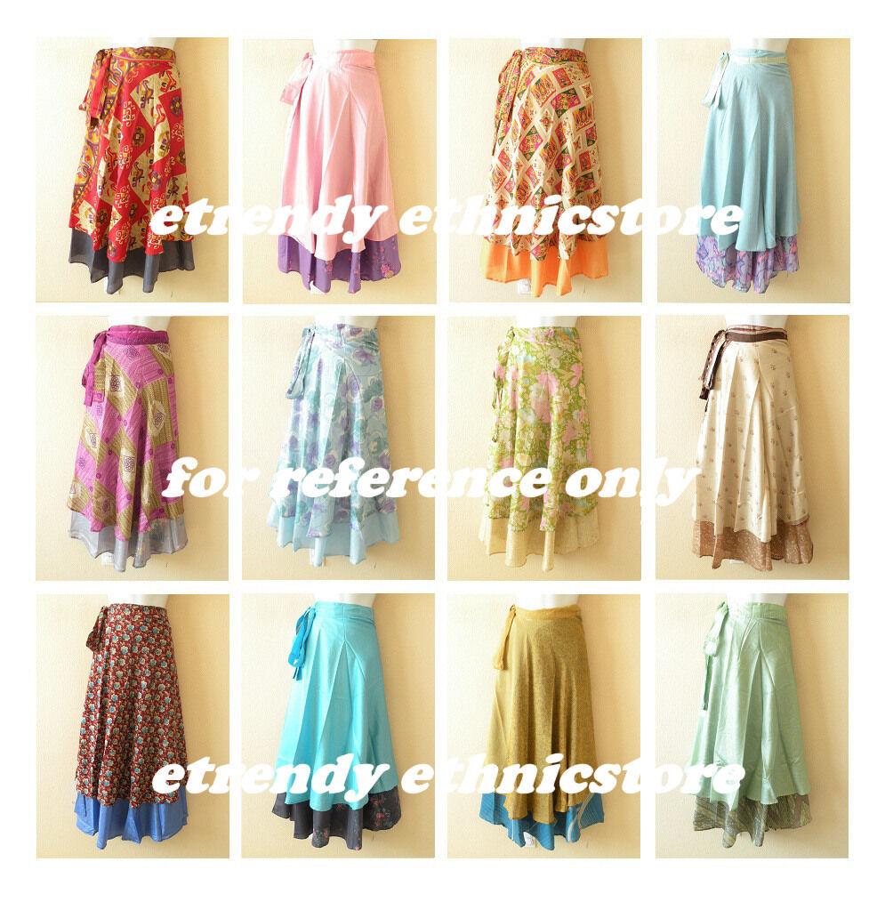 Wholesale Lot - 5pcs Vintage Silk Magic Wrap Skirt Halter...