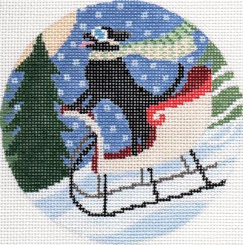 "Needlepoint Handpainted Christmas Ornament Sledding Dog 4.5"" CBK"