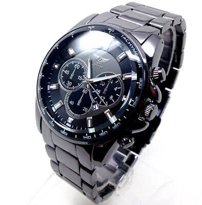 405A New Men Police Wrist Watches Gun Metal Black Strap Chronograph Dial Quartz