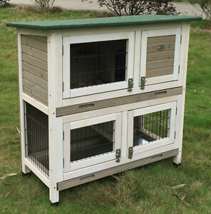 RABBIT HUTCH GUINEA PIG HUTCHES RUN 2 TIER DOUBLE DECKER CAGE