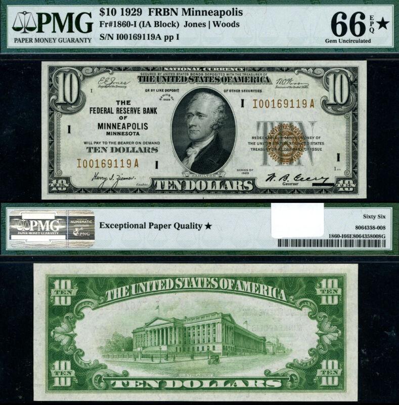 FR. 1860 I $10 1929 Federal Reserve Bank Note Minneapolis I-A Block Gem PMG CU66
