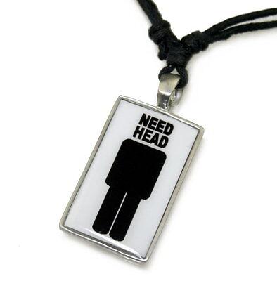 N11 Halskette Surferkette Anhänger NEED HEAD Dog Tag Herren Schmuck Necklace Men (Head Kette Schmuck)