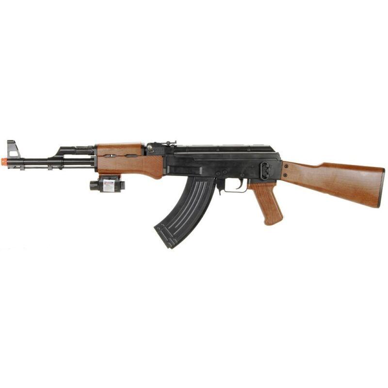 365 FPS AK-47 TACTICAL SPRING AIRSOFT RIFLE GUN w/ LASER SIGHT 6mm BB BBs Pellet