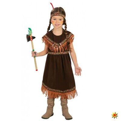 Kostüm Indianerin Tabeao Gr. 110- 152 Kleid dunkelbraun Kinderfasching Sqaw