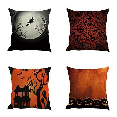 Pumpkin Castle Happy Halloween Pillow Cases Linen Sofa Cushion Cover Home Decor