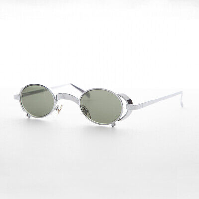 Oval Vintage Steampunk Sunglass in Silver with Side Shields -Byron