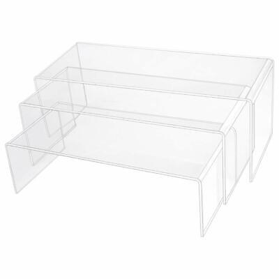 Obmwang 3 Pack Large Clear Acrylic Riser Set Acrylic Display Risers Shelf For