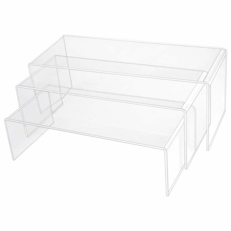 obmwang 3 Pack Large Clear Acrylic Riser Set, Acrylic Display Risers Shelf for