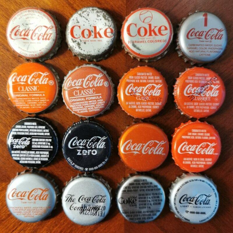 Lot Of 16 Used Coca-Cola Cola Bottle Caps Coke Crown Cork & Plastic Lined