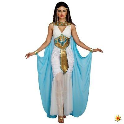 Ägypterin Kostüm Gr. XS- L Kleid weiß/blau Fasching Antike Ägypten (Kostüm Cleopatra)