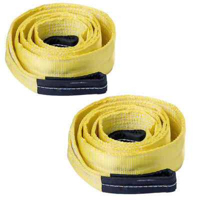"""Two (2x) 3"""" 20000lb Tow Strap 10 ft winch tree saver protector off-road recovery"""
