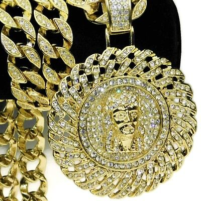 Cuban Medallion Jesus Hip Hop Chain Pendant Bling Gold Finish 30