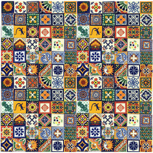 100 PCS  MEXICAN TALAVERA HANDMADE ART FOLK CERAMIC TILE 4x4