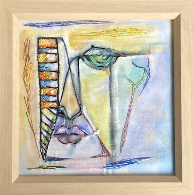 Multi Media Wall Art - Hand Embroidery On Hand Painted Fabric - Frame 20x20cm
