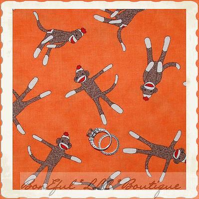 BonEful Fabric FQ MODA Cotton Quilt Baby Orange Brown Red Sock 5 Funky Monkey US