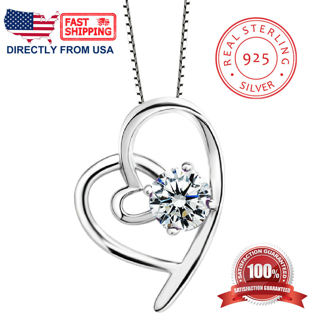 Women's and Girl's Sterling Silver Heart with Cubic Zirconia Pendant Necklace Fine Jewelry