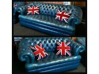4+2 Extreme Rare Chesterfield Thomas Lloyd Blue Sofas Settee Suite
