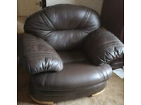 Leather 4 seater sofa and armchair