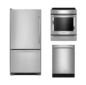 Combo : KitchenAid Stainless steel appliances - 30'' fridge, 30'' convection range, 24'' dishwasher