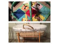 Mothercare moses basket & playmat