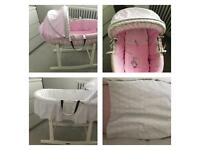 Clair de Lune Moses basket pink white bedding + sheets
