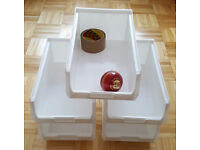 45 x Plastic Storage Bins White TC4 - Boxes Warehouse Linbins Parts Tools - For Louvre Panels