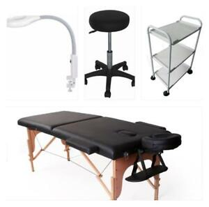 Ensemble table de massage , lampe flex sur attache , banc et chariot 259.99$ PROMO