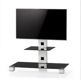 Sonorous Plasma Silver & Black Glass 2 Shelf Cantilever TV Stand