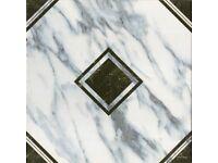 TILES JOBLOT 08: Black & white patterned tiles on Carrara background 33x33cm 15 square metres