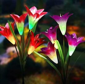 Solar Powered Lily Flower Multicoloured Changing LED Light