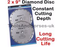 "NEW - 2x 9"" Inch 230mm Diamond Cutting Disc 9"" Diamond Cutting Blade For Angle Grinder"