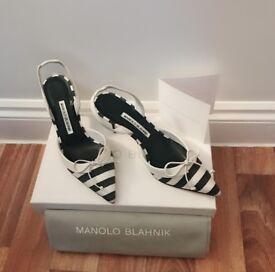 New Manolo Blahnik sling backs striped design heels