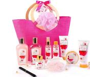 Spa Bath Gift Set for Her in Pink Tote Bag 11 Pcs Spa Gift Basket.