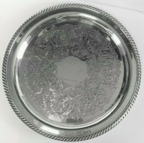 "Elegant Vintage 12"" Wm A Rogers Silverplate Etched Large Round Serving Tray"