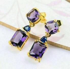 Golden And Purple Earrings