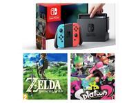 Nintendo switch console & zelda breath of the wild & splatoon 2 with accessories