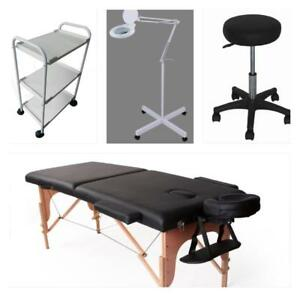 le table de massage , banc tabouret et lampe loupe LED NEUF